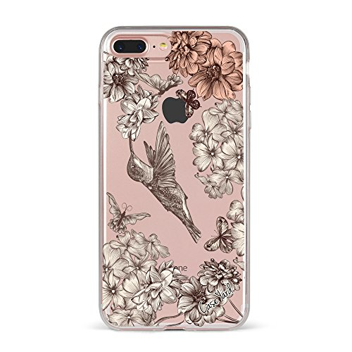 iPhone 8 Plus/iPhone 7 Plus Clear Case, CaseYard, Slim Fit Hybrid Fashionable Clear Case, Made in California, Vintage Hummingbird