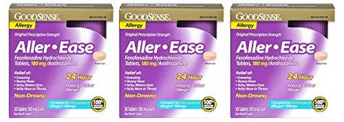 GoodSense Aller-Ease upjOv Fexofenadine Hydrochloride Tablets, 180 mg/Antihistamine, 30 Count (3 Pack) by Good Sense