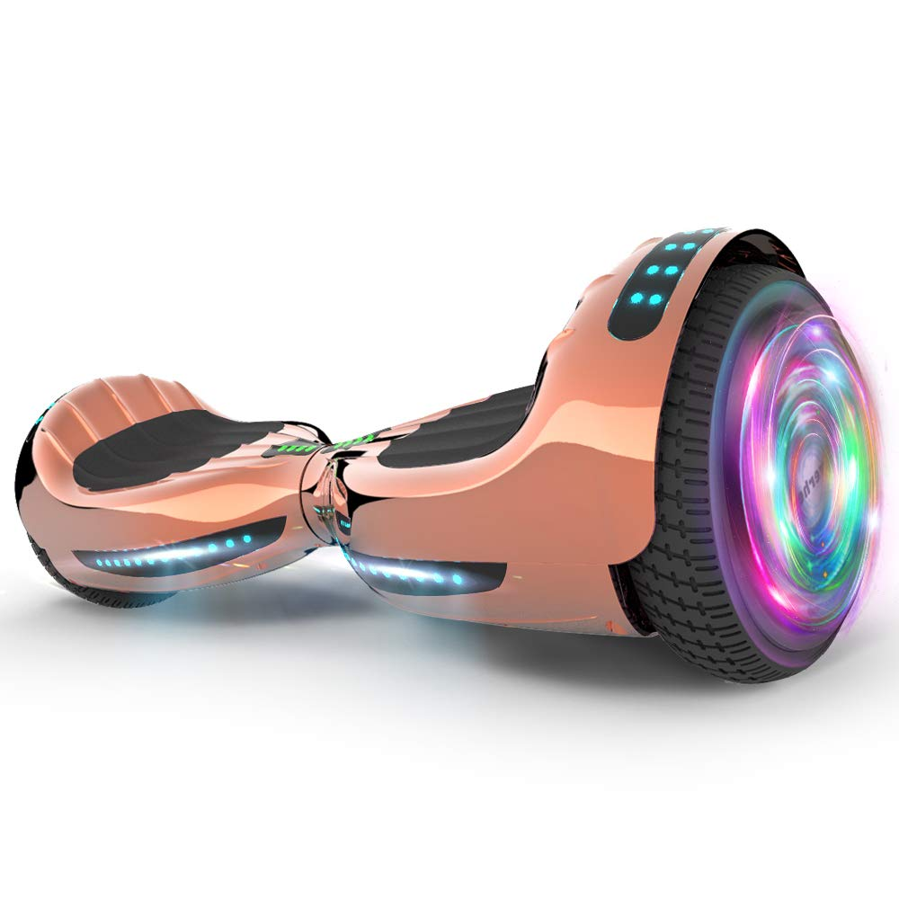 Hoverboard UL 2272 Certified Flash Wheel 6.5'' Bluetooth Speaker with LED Light Self Balancing Wheel Electric Scooter (Chrome Rosegold)