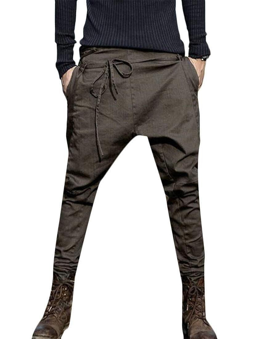 GloryA Men Solid Basic Trousers Jogging Loose Casual Drop Crotch Pants