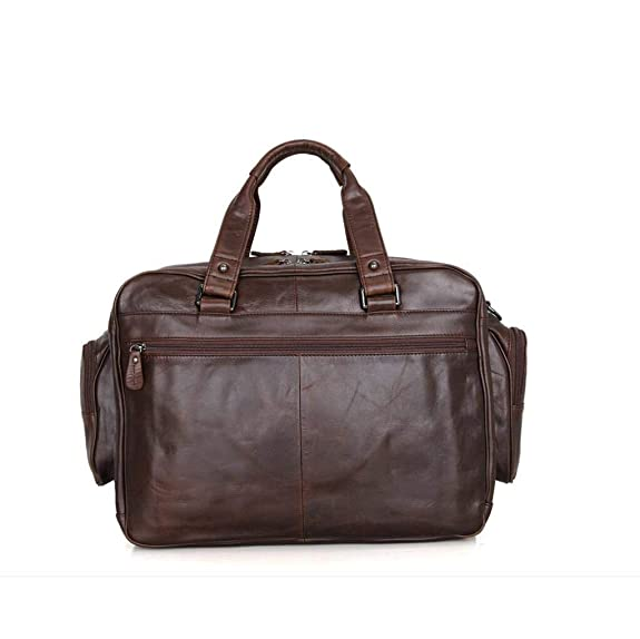 Xinyaun Retro Leather Mens Briefcase 16 inch Computer Handbag Mens Business Bag Large Capacity Crazy Horse Leather Luggage Bag Travel Work Dark Brown