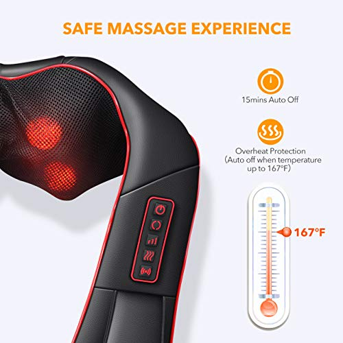 Electric Massager, ATMOKO Neck Massager with Heating & Vibration Function, for Shoulders, Neck, Back, Waist, Legs, Arms, Soles, Relieve Muscle Pain, 15.75 x 6.30 x 7.48 in, Black+Red
