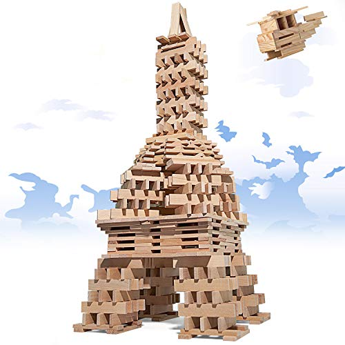 WAYES 400 Pieces Wooden Building Blocks Set, Solid Beech Wood Plank Blocks for Kids, City Building Blocks Game for Toddlers Above 3 Year Old - Brain Builders Architecture Blocks Toys