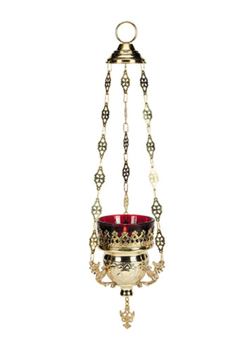 Hanging Votive Glass Candle Holder with Red Glass, 10 1/2 Inch by Hanging Votive Holder