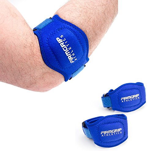 2 Pack of FirmGrip Athletics Tennis Elbow Support Brace Stap Band - Forearm Pain Relief for Golfers and Tennis Elbow - Sports - Rowing for Men and Women - Blue (Gell Well)
