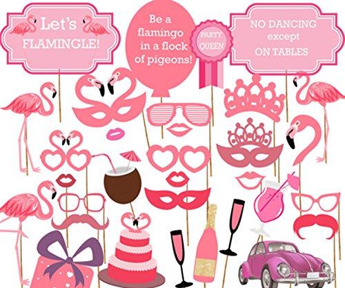 [Flamingo- Hawaiian Photo Booth Props Kit - 32 Count] (Roaring 20s Costumes Diy)