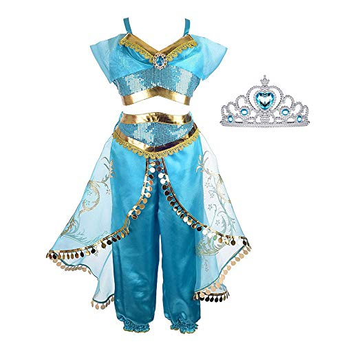 Princess Jasmine Costume for Girls Arabian Princess Jasmine Dress up Cosplay Costumes Halloween Party Fancy Dress for Kids]()