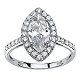 10K White Gold Marquise Cut Cubic Zirconia Halo Engagement Anniversary Ring Size 9