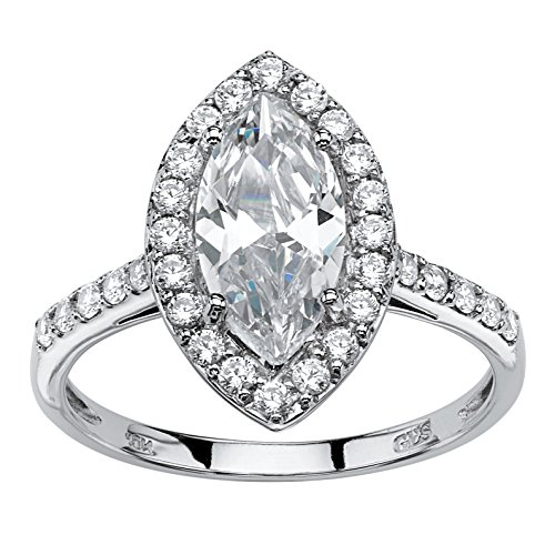 10K White Gold Marquise Cut Cubic Zirconia Halo Engagement Anniversary Ring Size -