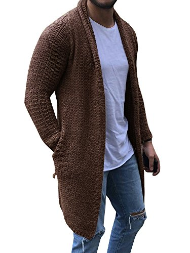 (EastLife Mens Cardigan Sweaters Long Sleeve Cable Knit Open Front Cardigans with Pocket (Large, Khaki))