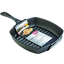 TableCraft CW30120 Cast Iron Square Grill Fry Pan, 2-Quart, Black