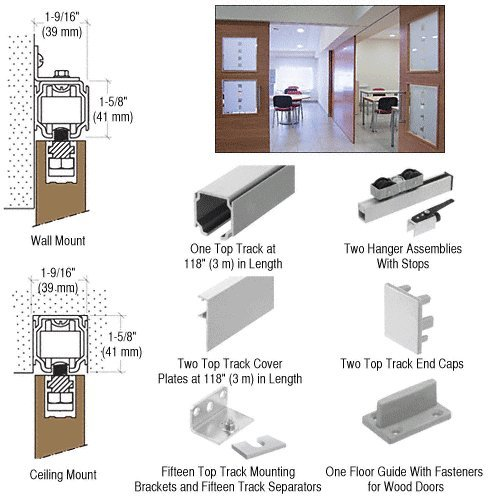 CRL70 Series Single Sliding Door Wall or Ceiling Mount Kit for Wood Doors by CR Laurence