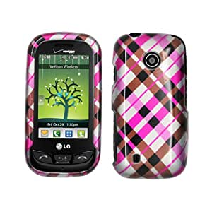 LG UN270 MN270 VN270 Attune, Beacon, Cosmos Touch Hard Plastic Snap on Cover 2D Check Pink Brown and Black Glossy US Cellular, MetroPCS (does not fit LG VN270 Cosmso Touch)