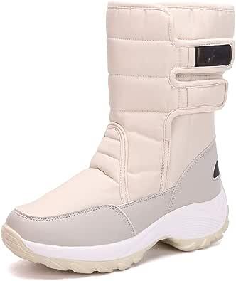 Mujer Botas de Nieve Felpa Forrada Botas de Invierno Espesamiento Calentar Al Aire Libre Esquí Botas para Caminar Impermeable Antideslizante Zapatos Casuales Fondo Grueso Cuña Botas de Algodón