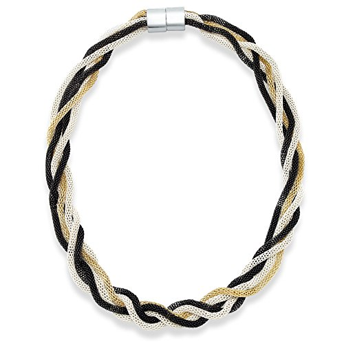 American Rag Necklace, 18-in Two-Tone Black and White Mesh Chain Braided Necklace