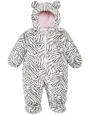 Carters Infant Girls Plush Gray & White Zebra Snowsuit Baby Pram Snow Suit