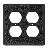 Vicenza Designs WP7003 San Michele Wall Plate with Double Outlet Opening, Oil-Rubbed Bronze