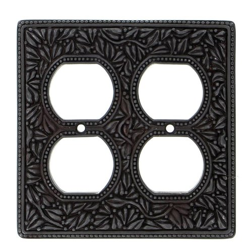 Vicenza Designs WP7003 San Michele Wall Plate with Double Outlet Opening, Oil-Rubbed Bronze by Vicenza Designs (Image #1)