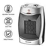 HL Portable Space Heater for Home and Office, Electric Ceramic Heater with Adjustable Thermoststs, 750W/1500W