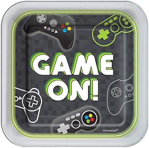 Controller Napkins Video Game Party Supplies Bundle Featuring Game On Plates Silverware and Bonus Printed Happy Birthday Ribbon