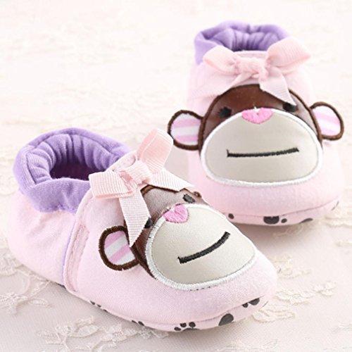Tefamore zapatos primeros pasos bebes de antideslizante de sole suave de moda invierno de calentar de Cartoon Rosa