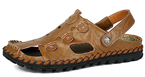 f0c21fd4a461 YZHYXS Men's Sandals Cow Leather Summer Beach Shoes (9528khaki46)