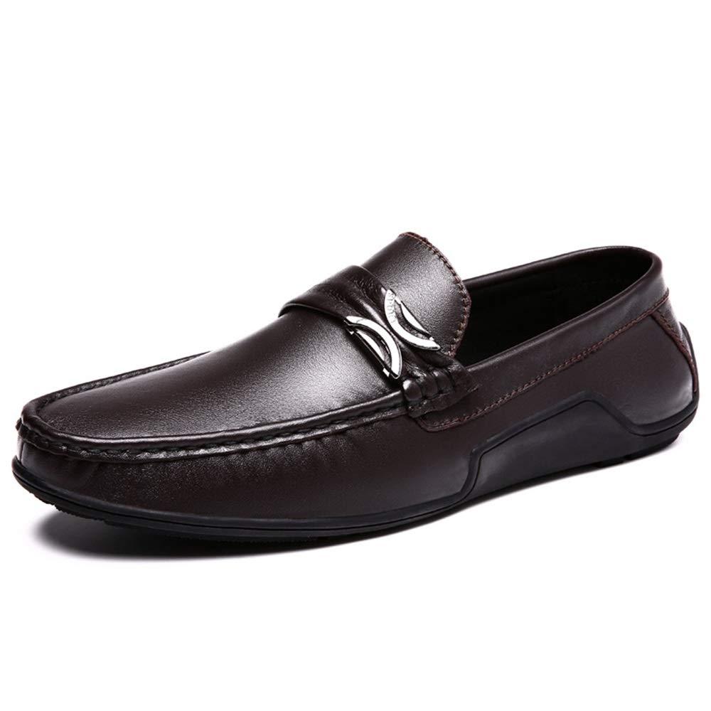 Marron 44 EU Driving Loafer pour Hommes Décontracté Oxfords avec Boucle en Métal Chaussures Habillées Plates Confortable Penny Slip-on Bateau Chaussures en Cuir Tige,Chaussures de Cricket