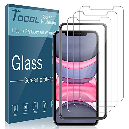 TOCOL [3 Pack] for iPhone XR and iPhone 11 (6.1) inch Screen Protector, Tempered Glass Anti Scratch HD Clear with [Alignment Frame Easy Installation]