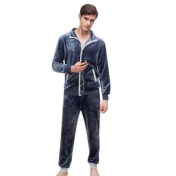 WanYang Franela de Pijama de 2 Piezas para Hombre Pijamas de Franela de Invierno Ropa de