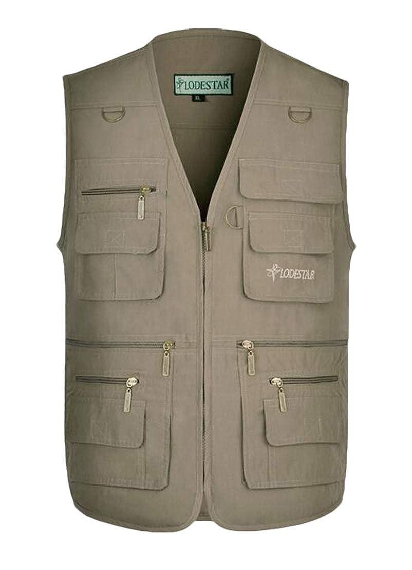 Jotebriyo Mens Casual Solid Color Cotton Outdoor Multi-Pocket V Neck Vest
