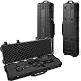 All Weather Water-Proof Safety Rifle Case with Wheels and Cuttable Foam,Great for Rifle, Gun, Bow, Camera and Electronic Keyboard Storing (43inch)