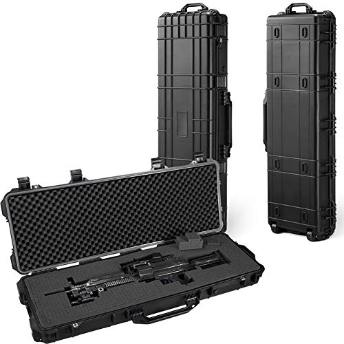 (All Weather Water-Proof Safety Rifle Case with Wheels and Cuttable Foam,Great for Rifle, Gun, Bow, Camera and Electronic Keyboard Storing (43inch))