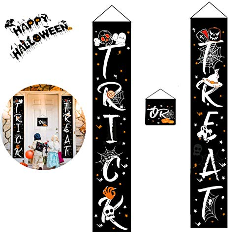 Halloween Decor Trick or Treat Door Banner Set - Halloween Decorations Outdoor Banner Ready to Hang for Gate, Garden, Home Party Display from Folouse