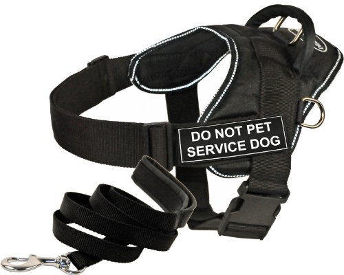 Dean and Tyler Bundle - ''DT Fun Works'' Harness, Do Not Pet Service Dog, Reflective, XXSmall + ''Padded Puppy'' Leash, 6 FT Stainless Steel Snap - Black by Dean & Tyler