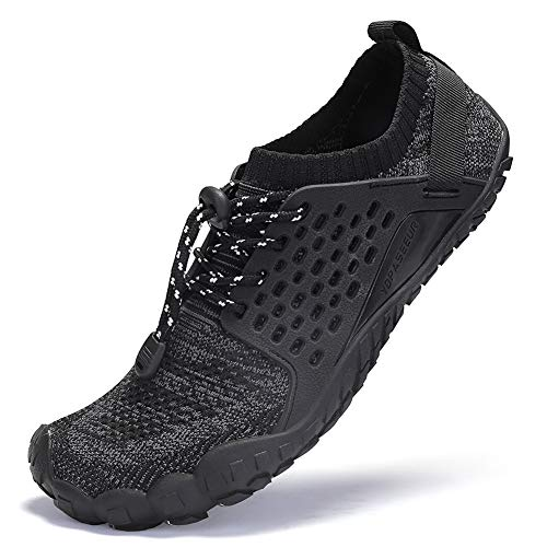 AMOCOCO Unisex Trail Running Barefoot Shoes Lightweight Gym Athletic Walking Shoes for Outdoor Sports Cross Trainer Black