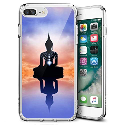 Buddha iPhone 7 Plus 8 Plus Clear Case,Ultra-Thin Transparent Soft Protection Cover,Personal Customization Hybrid Drop Flexible Shockproof Case Creative Zen Clear Case