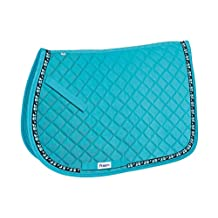 Perri's Leather Pony Turquoise Owl Ribbon Saddle Pad