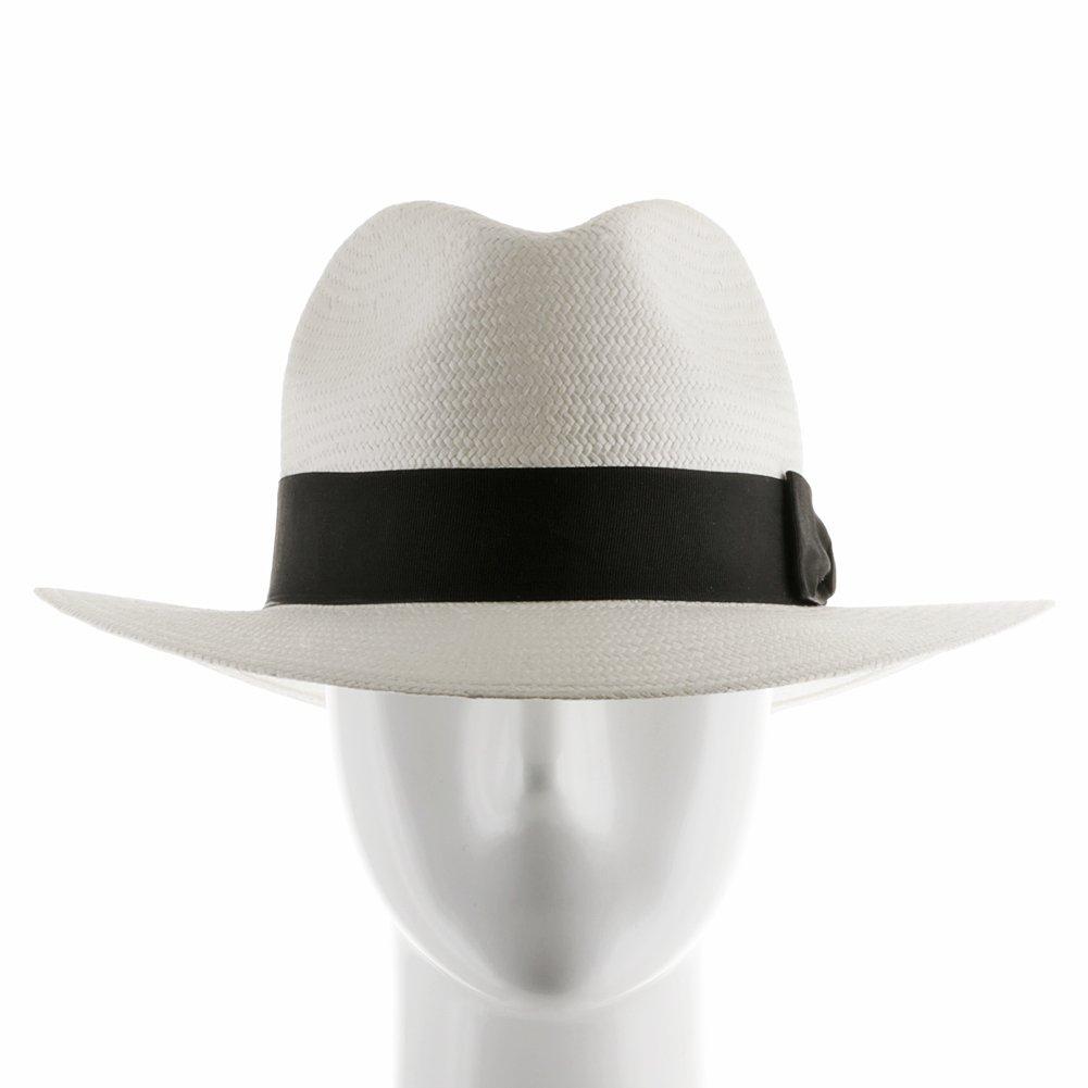 Ultrafino Trilby Straw Fedora WHITE Panama Hat 7 1/2 by Ultrafino (Image #2)