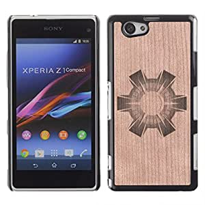 - Abstract Sun Shape Spikes Minimalist - - Funda Delgada Cubierta Case Cover de Madera FOR Xperia Z1 mini,D5503,Xperia Z1 Compa BullDog Case