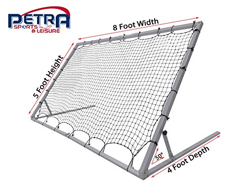 Pass 8 x 5 Ft. 3MM Industrial Steel Frame Training Rebounder w/5 Angle Positions. Portable Soccer, Baseball, Softball, Basketball, Lacrosse Practice (Steel Rebounder)