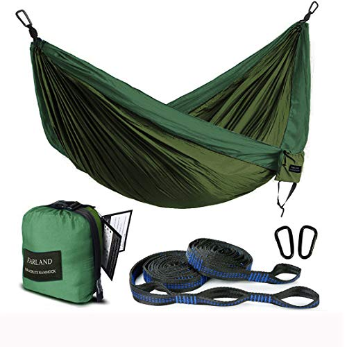 (FARLAND Outdoor Camping Hammock - Portable Anti-Fade Nylon Single Hammock with 2 Piece 14 Loop Straps Parachute Lightweight Hammock for Hiking Backpacking)