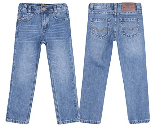 justfound4u Designer Boys Jeans Adjustable Waist Trousers Denim Wash Toddler Kids 2 3 4 5 6 7 8 9 10 11 12 13 14 15 16 Years (Faded Blue, 14-15 Years (EU 170))