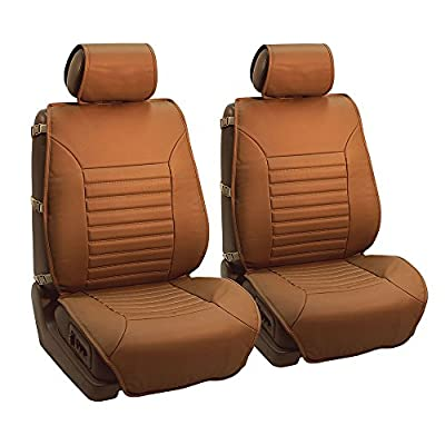 FH GROUP FH-PU206102 Multifunctional Quilted Leather Seat Cushions Pair Set- Fit Most Car, Truck, Suv, or Van