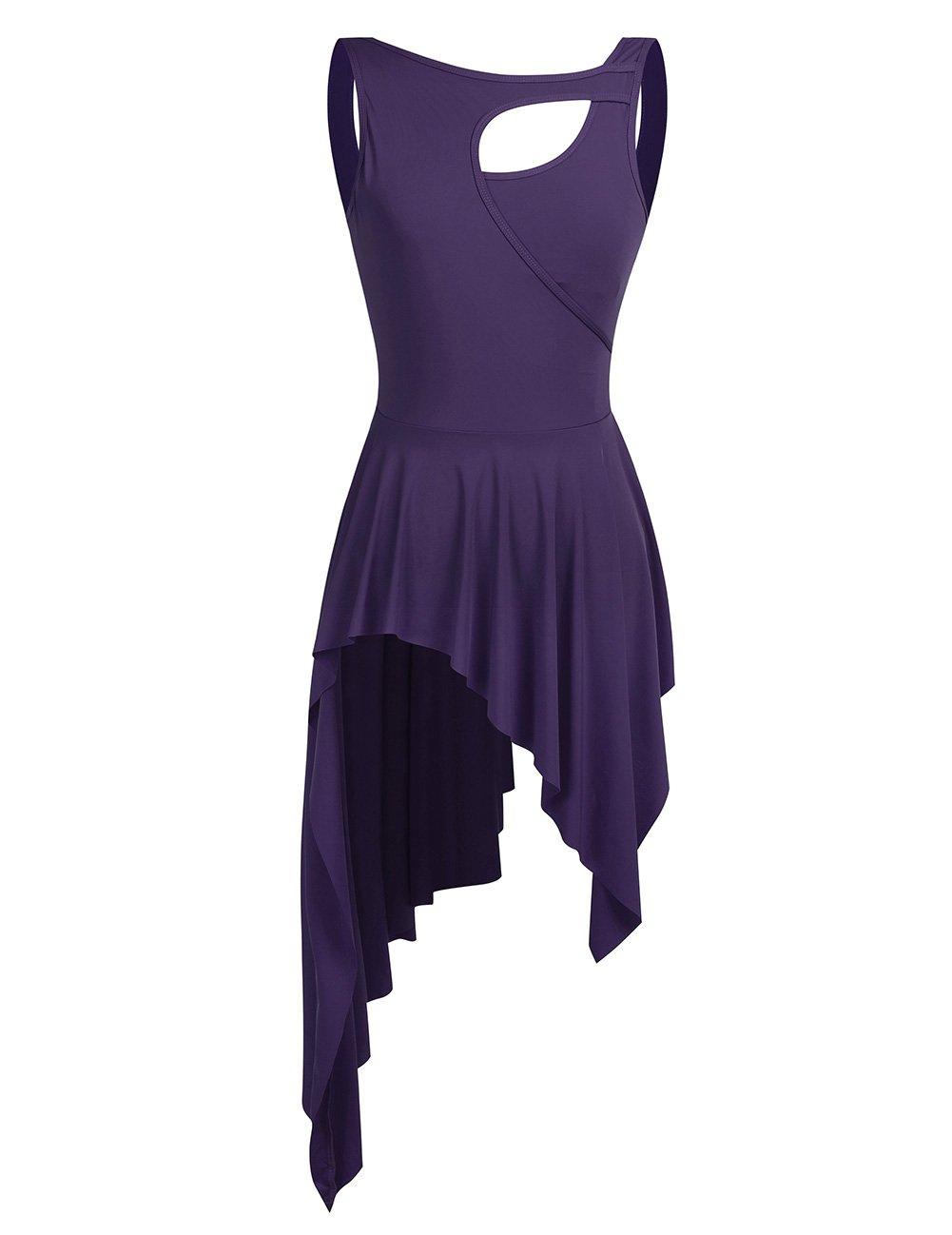 MSemis Women Lyrical Dance Costume Dresses High Low Skirt Camisole Leotard Purple X-Small by MSemis