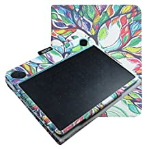 Mama Mouth Slim-Book Folio Carry PU Leather Cover for Wacom Intuos Medium Art CTH690AK CTH690AB / 3D CTH690TK / Comic CTH-690/K1 CTH-690/B1 Digital Drawing Tablet,Love Tree