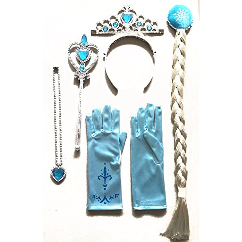 [Snow Queen Girls' Party Costume Accessories 6pieces Set Crown Wand Plaits Gloves] (Snow Queen Costume Childrens)