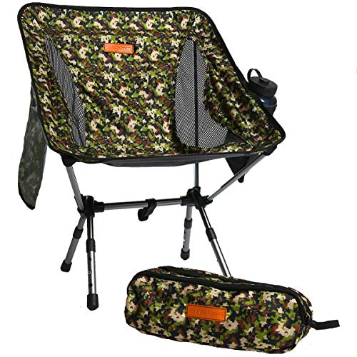 Boundary Life Portable Folding Chair: for Camping, Backpacking and Hiking - Compact and Lightweight Chairs fit in a Backpack Great for Hunting Fishing Picnic or The Beach - Camo Outdoor Seat (Best Hiking Chair 2019)