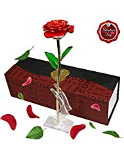 SMALLRT 24K Gold Plated Rose Flower with Stand and Gift Box,Artificial Long Stem Rose Gift for the Valentine's Day, Mother's Day, Birthday, Wedding Ceremony, Home Decor (Rose)