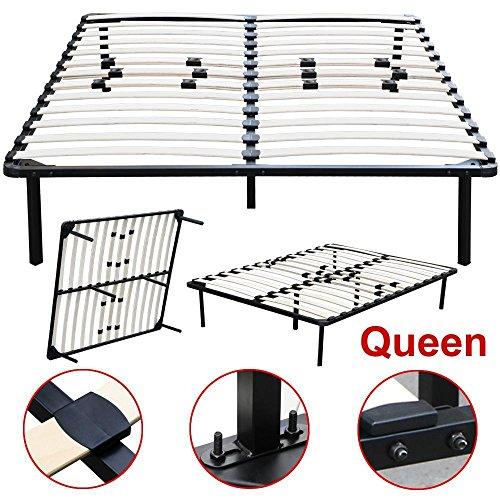 Topeakmart Twin Full Queen King Size Platform Metal Bed Frame Bedroom Wood Slats Mattress Foundation Base without Headboards (Queen)