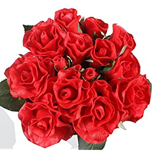 Duovlo 7 Stems of Real Touch Silk Roses Fake Floral Rose Flower DIY Wedding Bridal Bouquets Centerpieces Arrangements Home Decorations,Pack of 1 (Red) 66